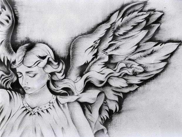 sad angel wings drawing