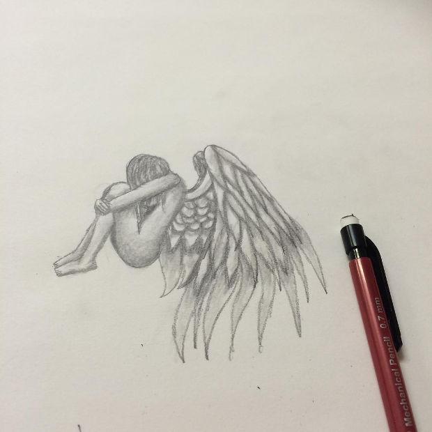 fallen angel pencil drawing