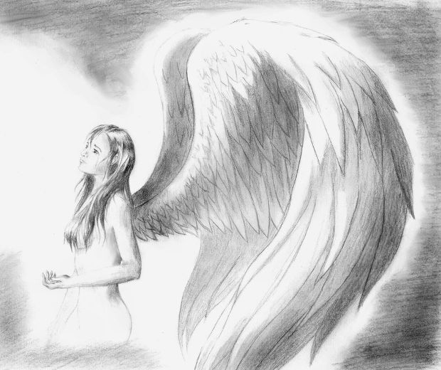Sad angel pencil drawing