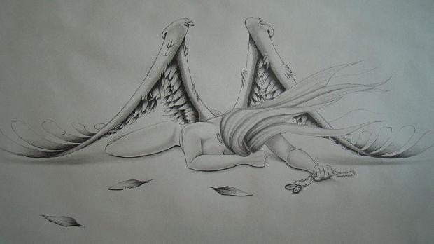 sad angel fairy drawing