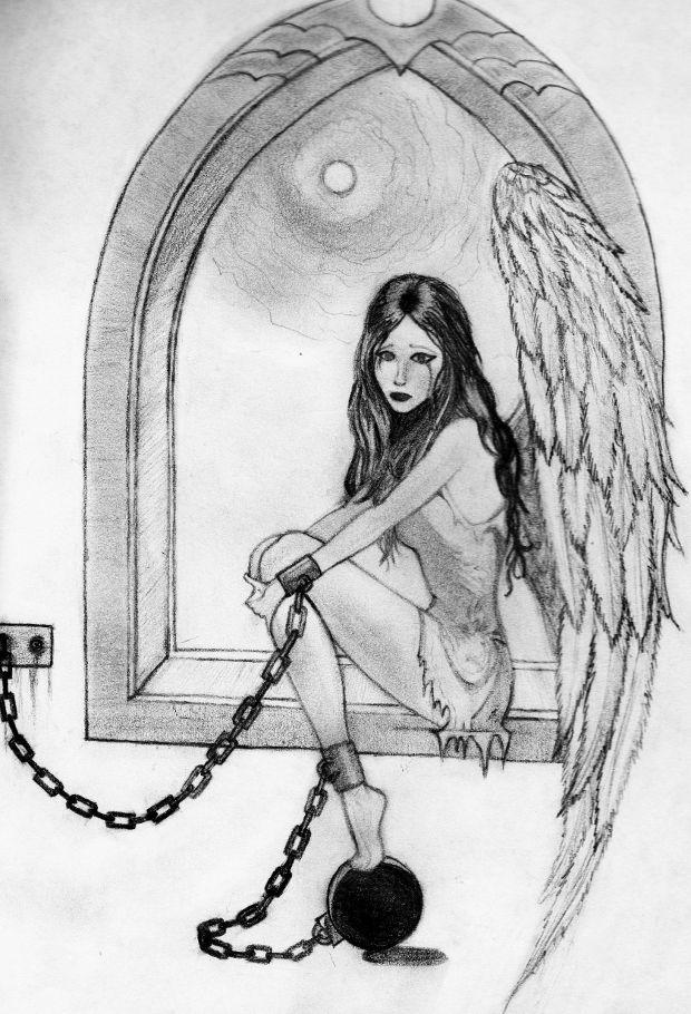 captive angel pencil drawing