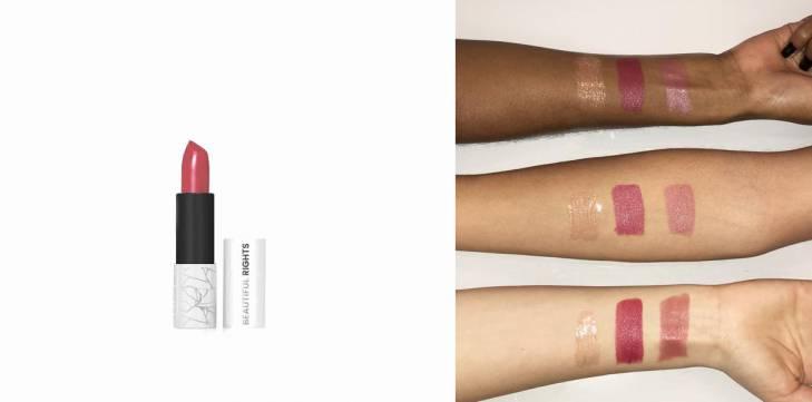 pantsuit pink lipstick