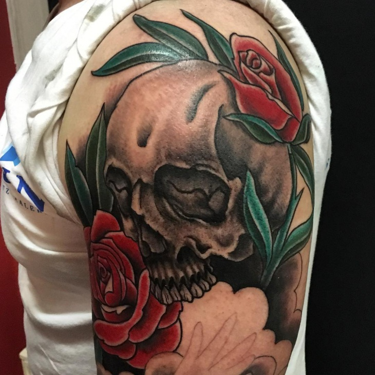 sleeve Skull and Rose Tattoos