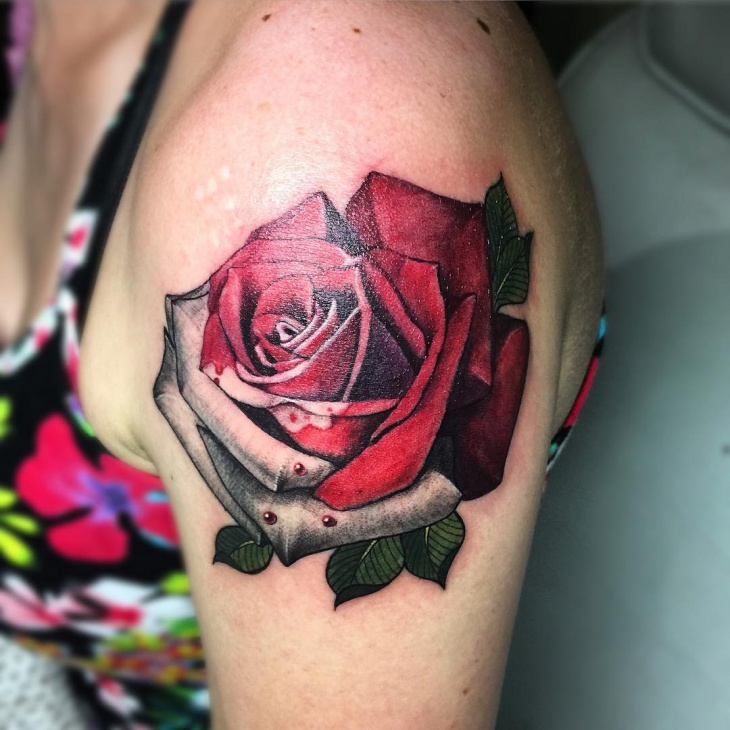 Red Rose Tattoo on Shoulder