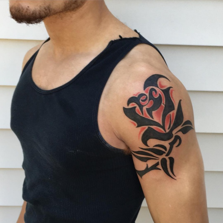 black-tribal-rose-tattoo