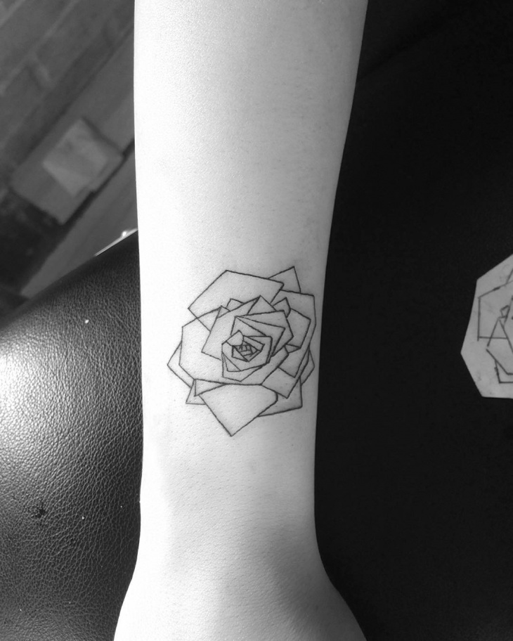 Small Geometric Rose Tattoo
