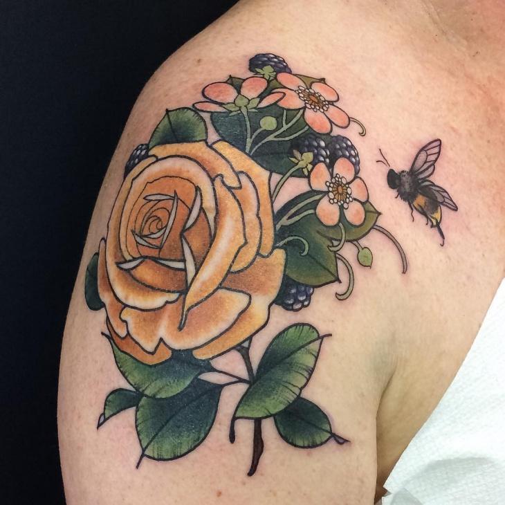 vintage rose tattoos
