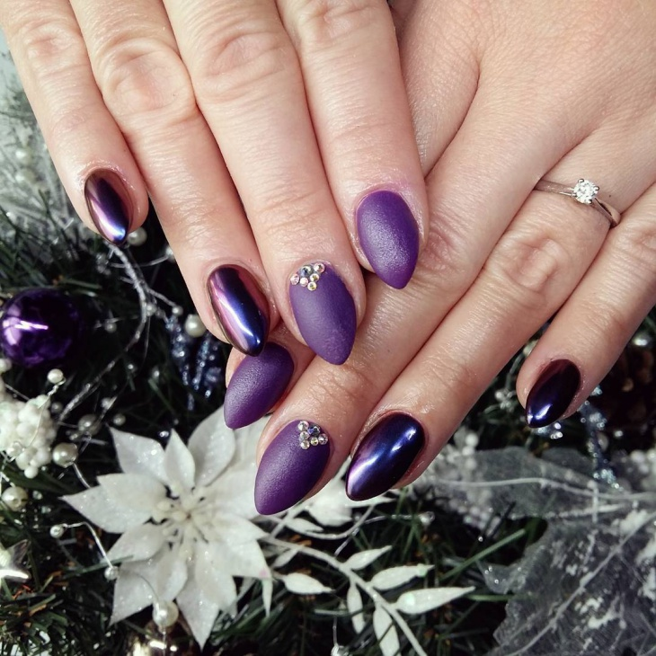 new year purple gel nails