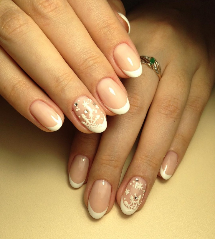 white new year tip nails