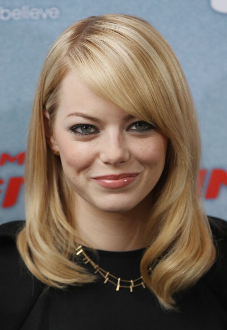 Emma Stone Medium Length Hairstyles with Bangs