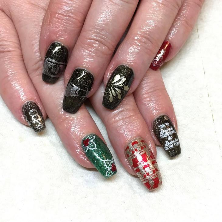 glitter new year nail art for long nails