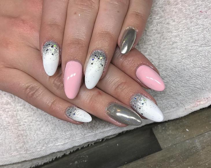 silver glitter new year nail design