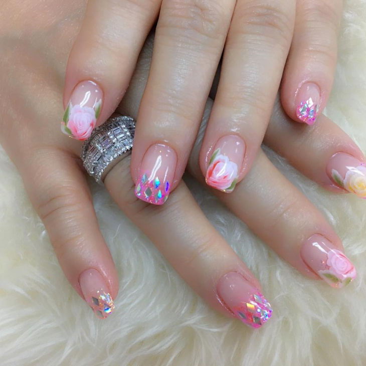 floral new year nail art design