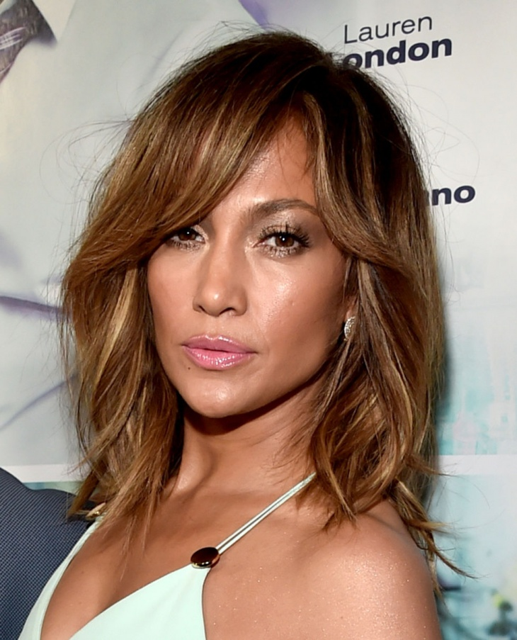 jennifer lopez layered medium length hairstyle