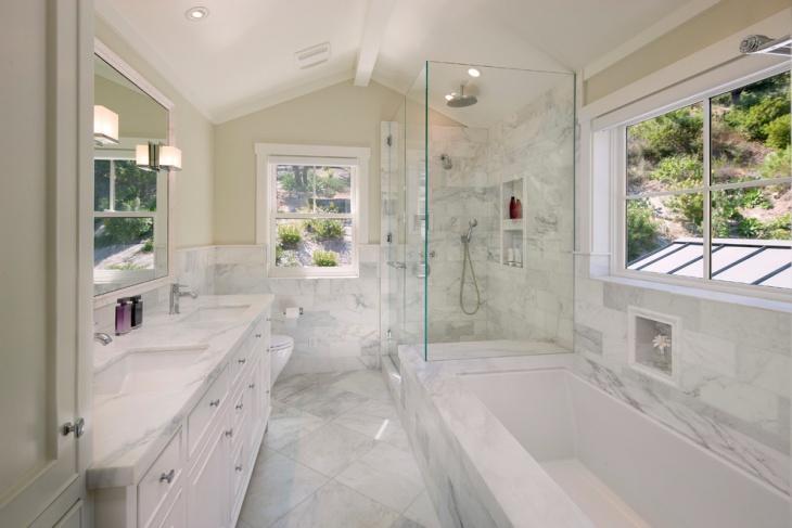 white marble bathroom countertop