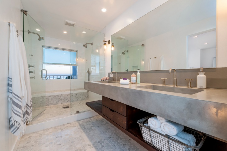 stained concrete bathroom countertop