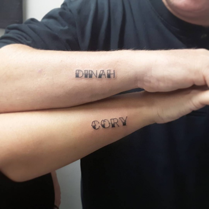 Couple Name Tattoo on Forearm