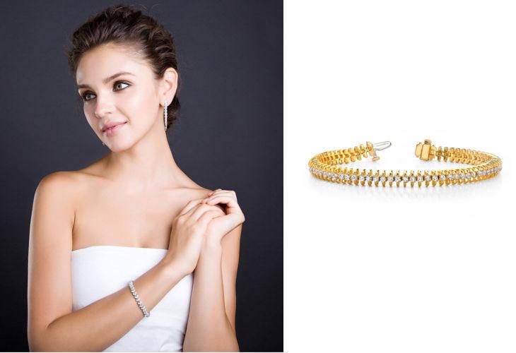 diamond zipper link tennis bracelet