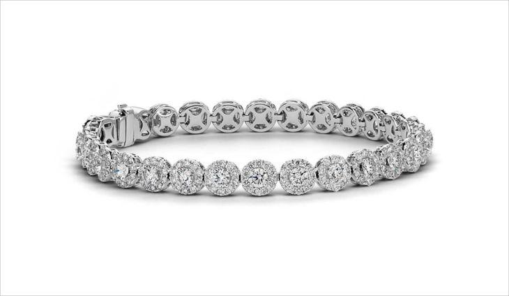 diamond halo tennis bracelet
