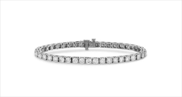 suzy levian 14k white gold diamond tennis bracelet