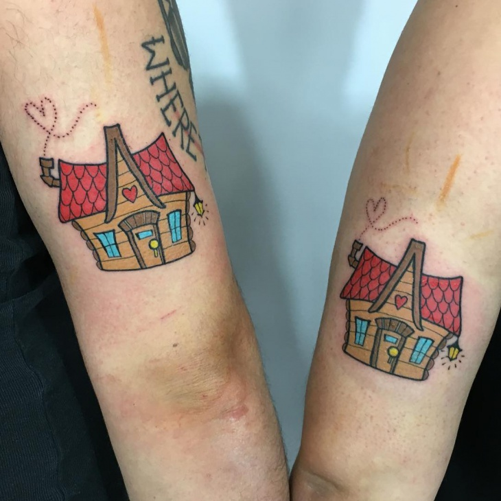 Matching Couple Tattoo on Arm