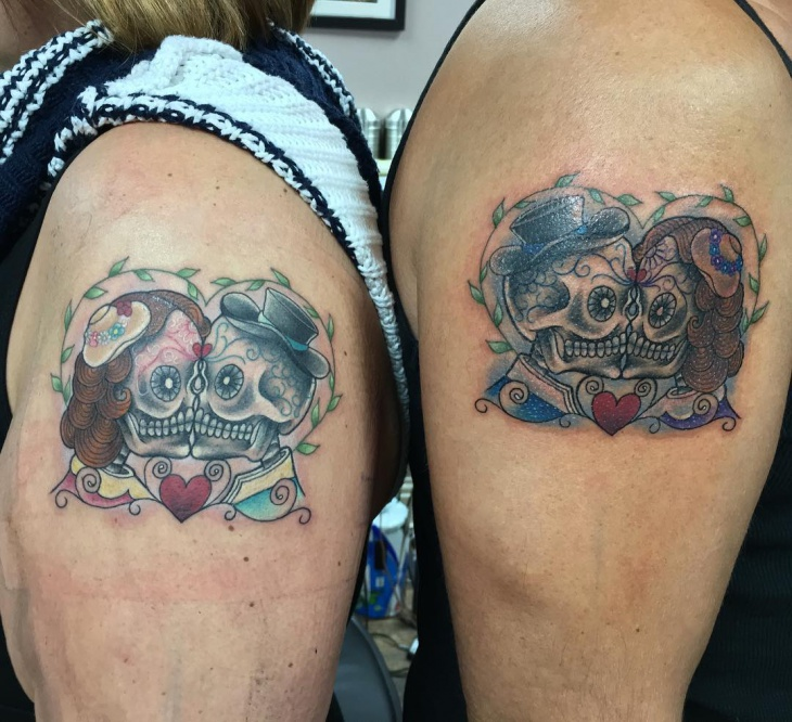 Couple Skull Tattoo on Sleeve