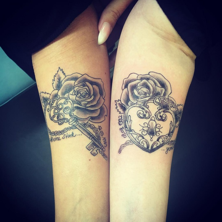 Lock and Key Couple Tattoo on Forearm