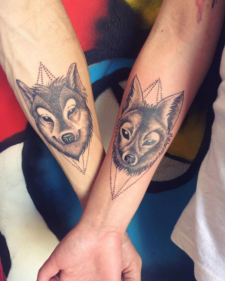 Couple Hand Wolf Tattoo