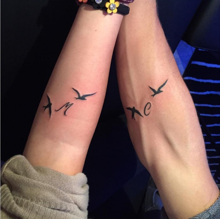 Couple Small Bird Tattoo