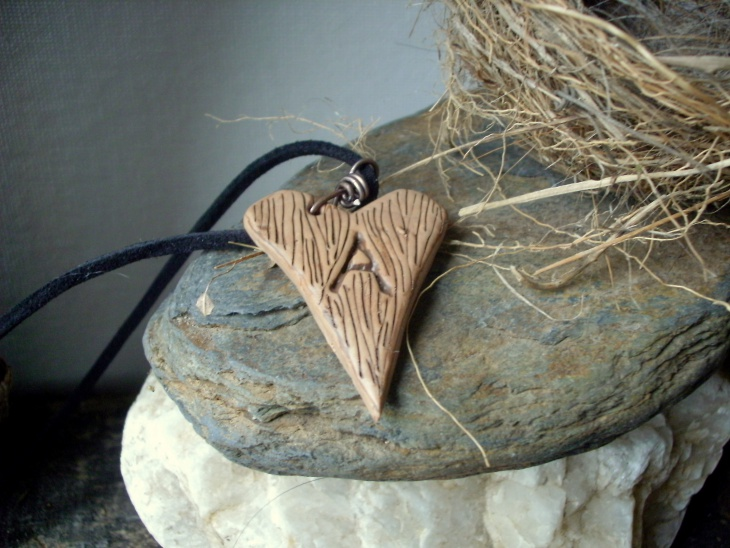 wooden heart initial necklace