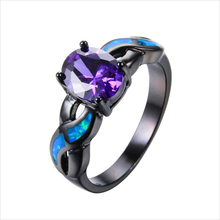 black gold mens opal ring