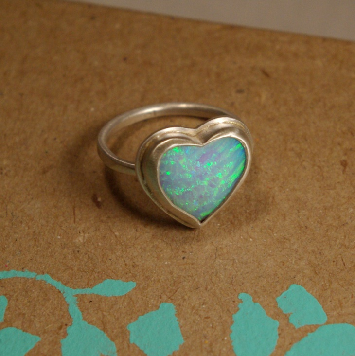 chunky opal heart ring
