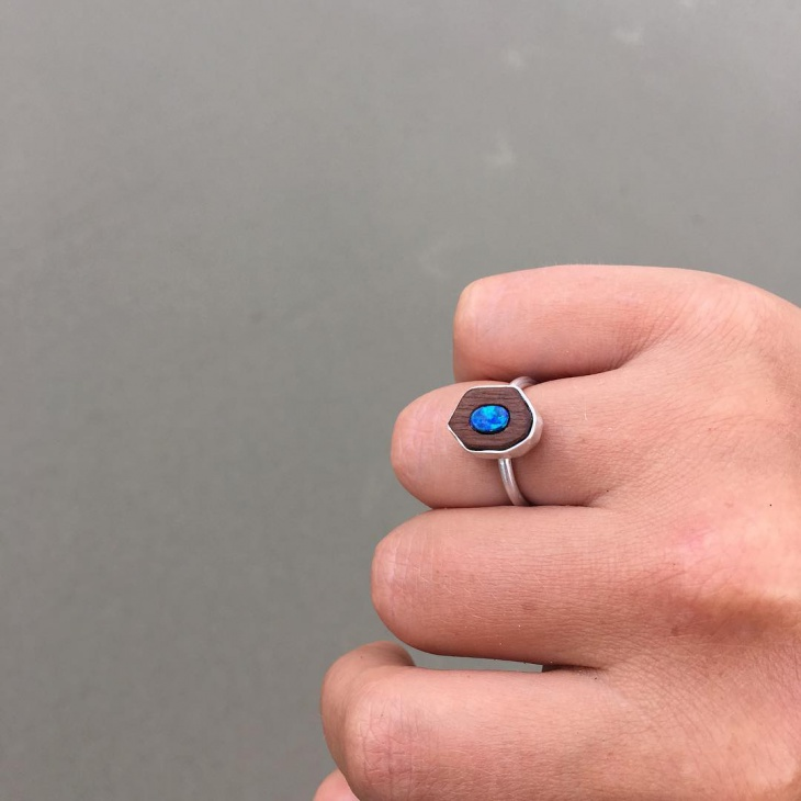 silver opal charm ring