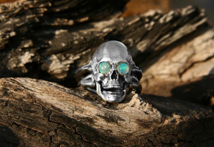 opal silver skull ring