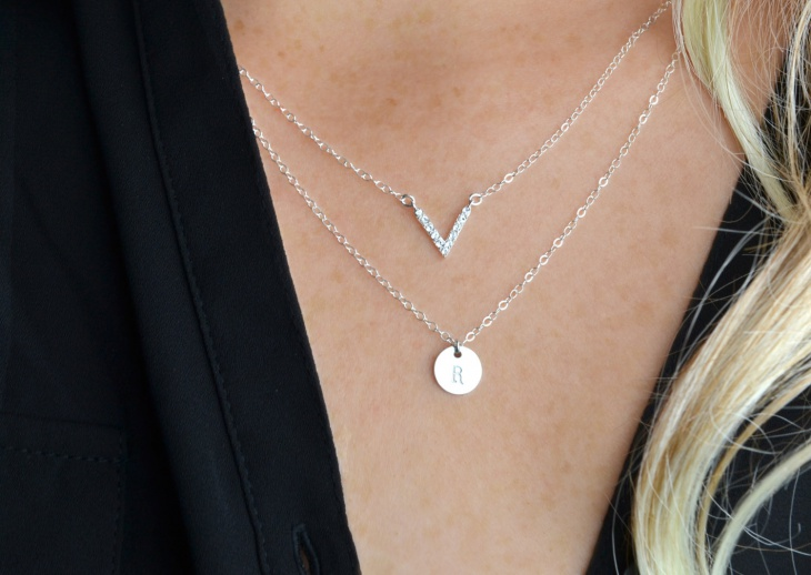 diamond layered initial necklace