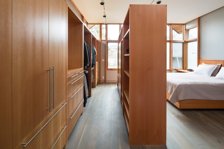 contemporary walk in bedroom closet