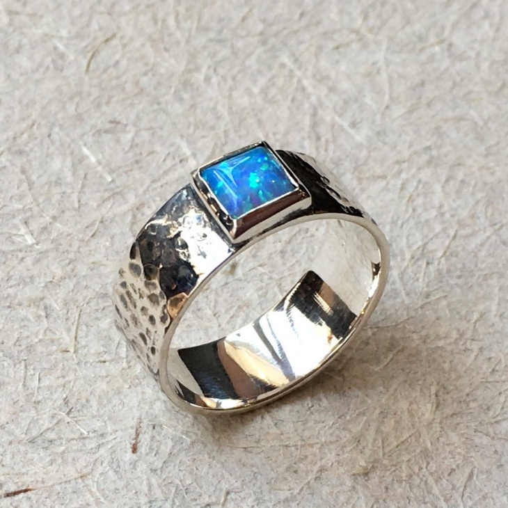 square opal two tone ring