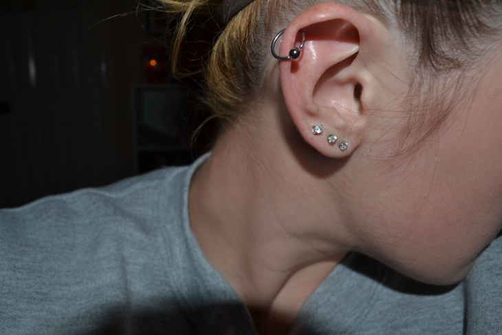 cartilage piercing silver earrings