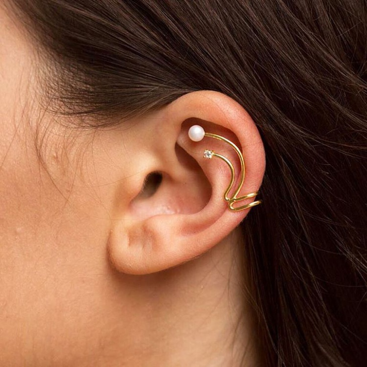 cartilage gold cuff earrings