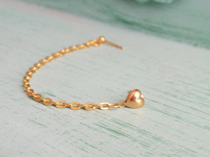 heart single chain cartilage earring