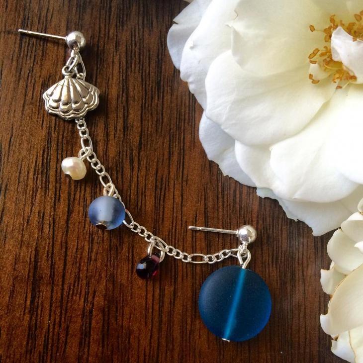 cartilage chain pearl earrings