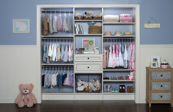 antique white walk in closet for kids