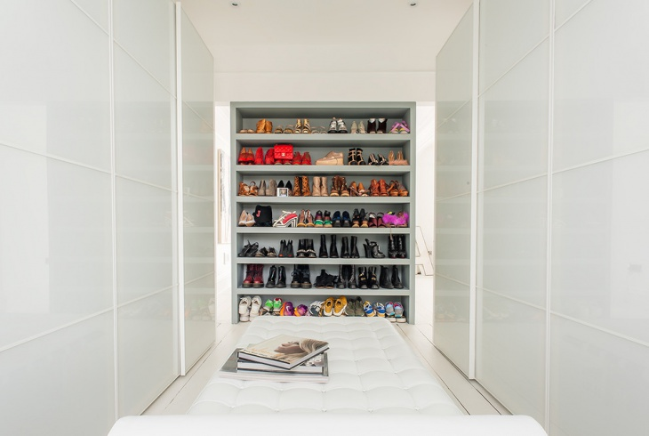 contemporary white walk in closet