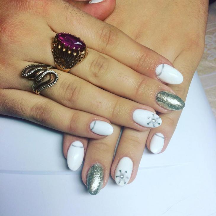 Wedding Shellac White Nails