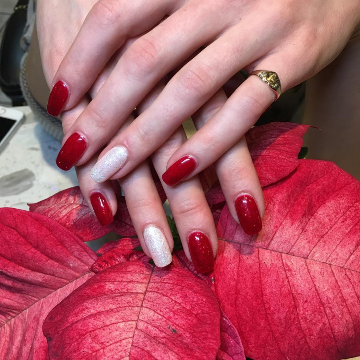Red and White Acrylic Shellac Nails