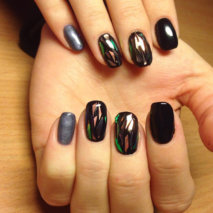 black shellac marble nail art