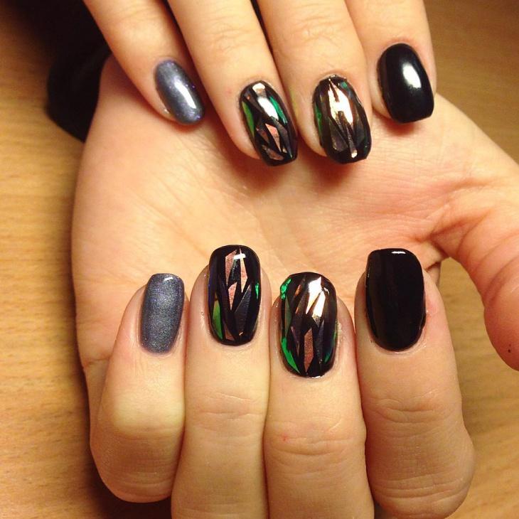 Black Shellac Marble Nail Art