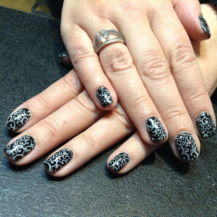 black and white shellac lace nail art