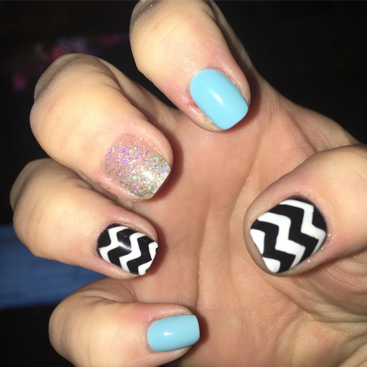 shellac chevron short nails