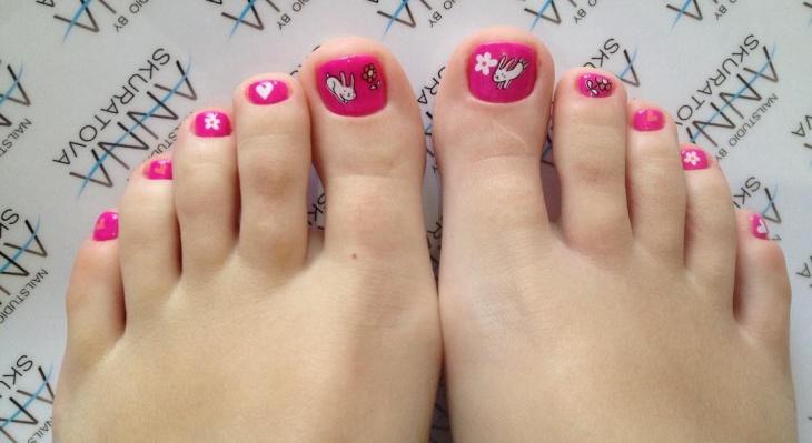 Shellac Toe Pink Nail Art